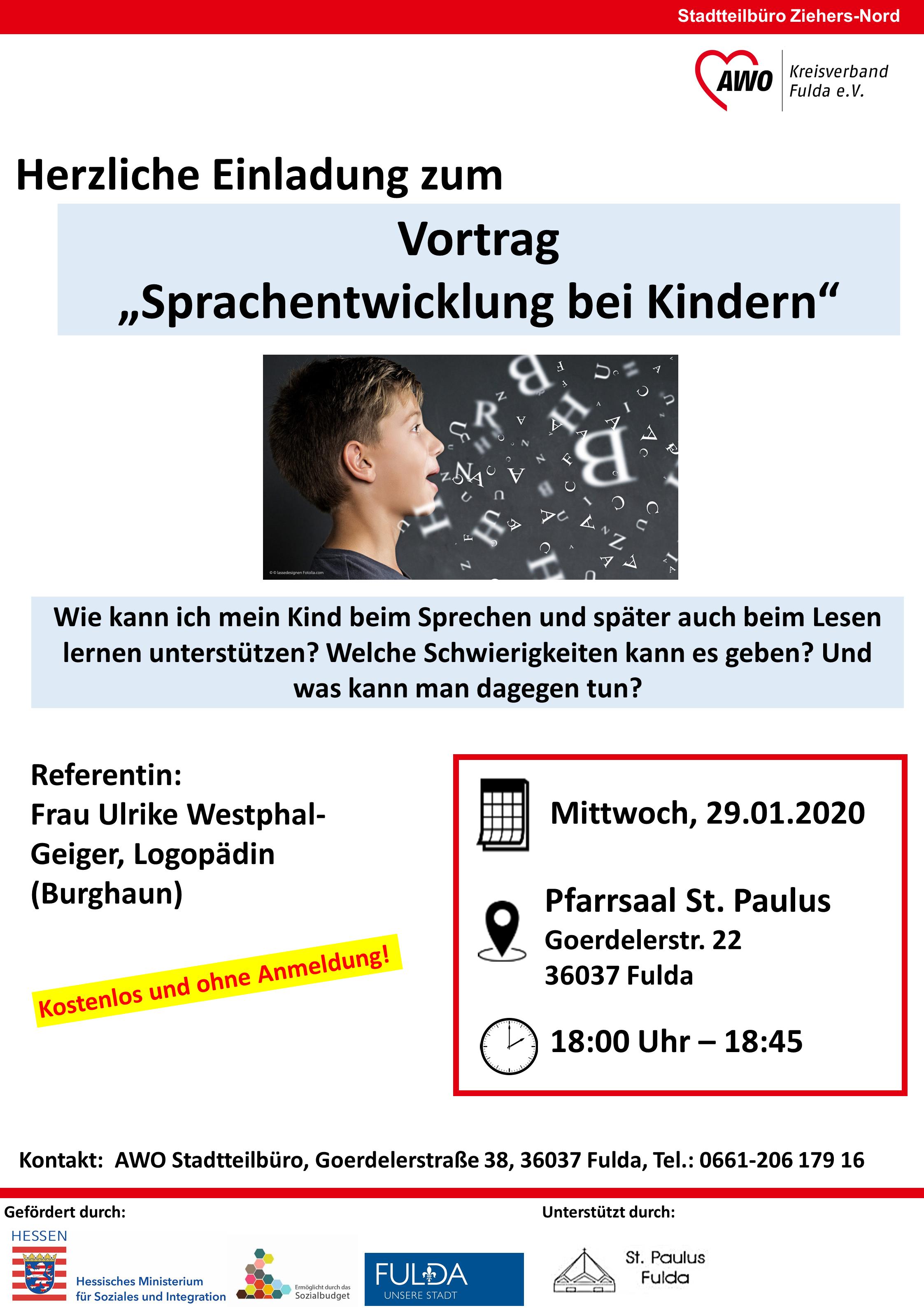 """Vortrag ,,Sprachentwicklung bei Kindern"""" @ Pfarrsaal St.Paulus"""